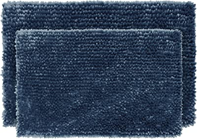 "Juicy Couture Butter Chenille Bath Rug, 17""x24""/20""x34"", Regal Blue"
