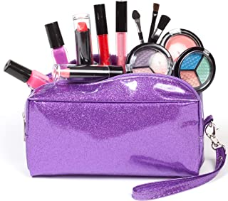 SmartEmily Washable Kids Makeup Set for Girls and Teens with Glitter Cosmetics Bag (Lilac Purple)