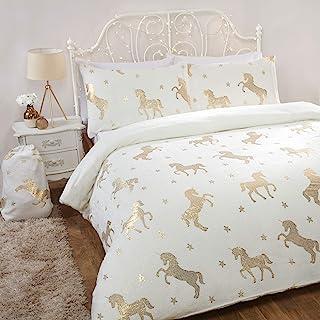 Sleepdown Foil Flannel Unicorn Ivory Stars Reversible Soft Duvet Cover Quilt Bedding Set With Pillowcases - Double