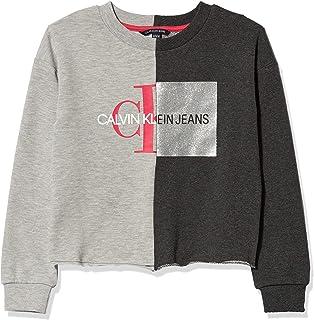 قميص سويت شيرت من الصوف للفتيات من كالفن كلاين برقبة مستديرة