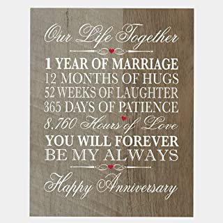 """LifeSong Milestones 1st Wedding for her him Husband Wife 1 Year Wall Art Decorations for Living Room Mr and Mrs First Year Celebration Home Decor Plaque 8"""" x 10"""" (Barnwood)"""