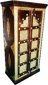 Orientalischer Kleiner Schrank Kleiderschrank Desert 140cm hoch | Marokkanischer Vintage Dielenschrank schmal | Orientalische Schränke aus Holz massiv für den Flur, Schlafzimmer, Wohnzimmer oder Bad
