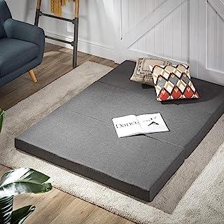Zinus Trifold 10cm Folding Foam Single Mattress Foldable Topper   Portable Travel Camper Trailer Floor Bed