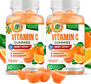 Vitamin C Gummies Chewable (2-Pack) by Purest Eden-250MG of Vitamin C-Equal to 5 Oranges, Vegan Vitamin C| Adults & Kids |...