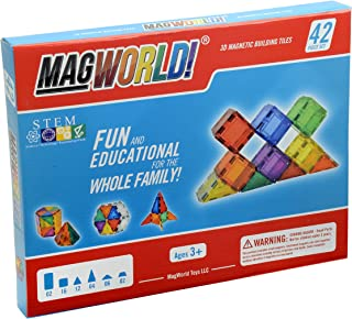 MagWorld Toys Magnetic Construction Rainbow Colors-42 Piece Set. Create 2D and 3D Shapes, Figures & Architecture. STEM Play Age 3 and Up.
