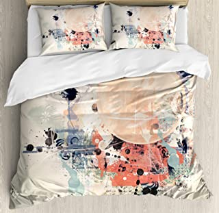 Ambesonne Abstract Duvet Cover Set King Size, Grunge Textured Mix Collage with Murky Tone Effects Watercolor Design, Decorative 3 Piece Bedding Set with 2 Pillow Shams, Pastel Brown