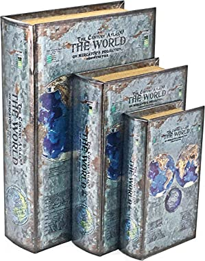 Bellaa 25952 Decorative Book Box World Map Book Set of 3 Old World Antique Invisible Magnetic