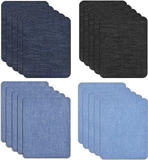 Chstarina 20Pcs Patchs Thermocollants, Bleu Noir Denim Patch en Tissu, Patches à Repasser, Patchs de Vetement, kit de Répa...