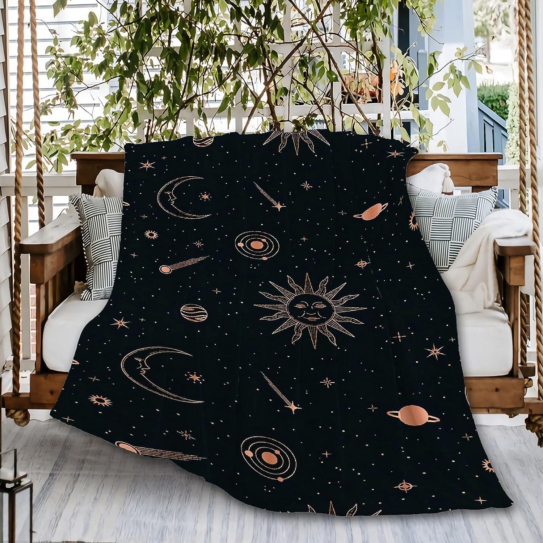 Naiagiri Rose Gold Celestial Sun Sofa Max 87% OFF Moon Blanket Daily bargain sale Flannel Throw