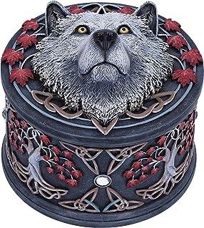 Nemesis Now B5396S0 Lisa Parker Boîte à Bijoux Motif Loup d'automne Blanc, 11 cm