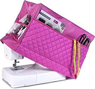 Sewing Machine Cover with 3 Convenient Pockets - Protective Quilted Dust Cover Pro - Universal for Most Standard Singer & Brother Machines   Rodi's (Pink)