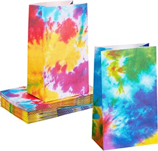 48 Pieces Tie Dye Paper Bags Goody Bags Colorful Party Paper Bags Tie Dye Party Accessories Party Decoration Supplies for ...