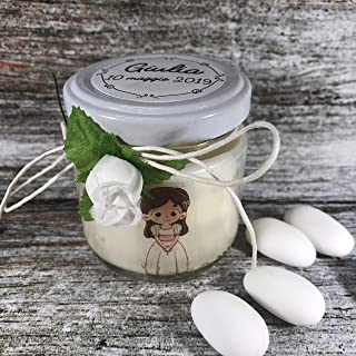 Bomboniera Prima Comunione Femmina - 25 o più vasetti confezionati (scritta sull'etichetta, sacchetto e confetti) con cand...