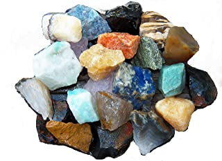 Fundamental Rockhound Products: 1 lb Rough BRAZIL MIX Bulk Rock for Tumbling Metaphysical Gemstones Healing Crystals Wholesale Lot ... Minimum 15 DIFFERENT Stones, maybe more! ... Rose Qtz, Green Qtz, Blue Qtz, Amazonite, Sodalite, Black Onyx, Jaspers, Agates ...