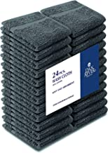DAN RIVER 100% Cotton 400 GSM Washcloths 24 Pack- Face Towels Gray - Washcloths for Face Soft - Cotton Washcloths Bulk -Luxurious Wash Clothes for Bathroom - Washcloths 12 x 12