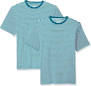 Amazon Essentials Men's Loose-fit Short-Sleeve Stripe Crewneck T-Shirts