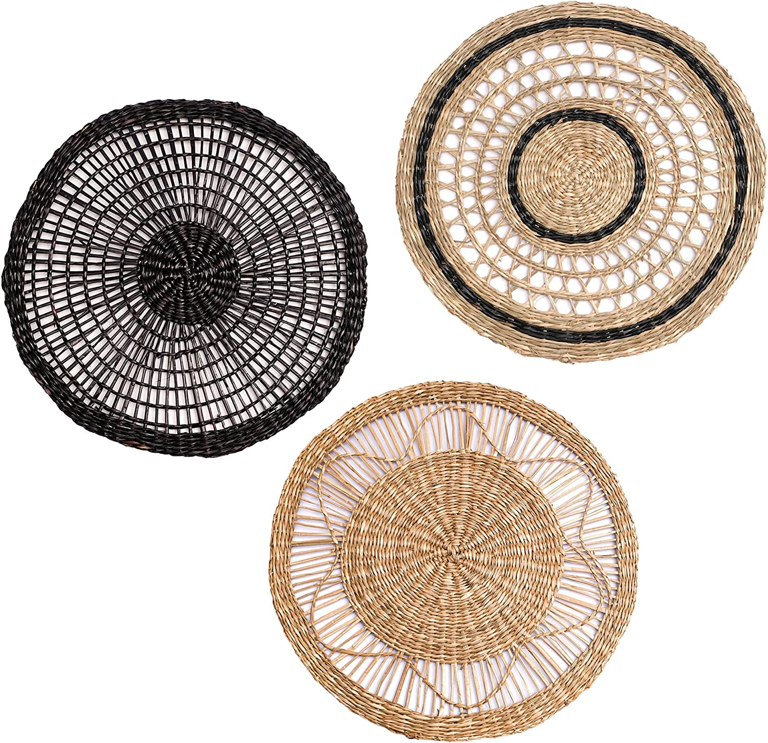 ChicnChill Flat Wall Baskets Decor Boho - Set 3 of Rustic Hanging Woven Wall Basket with African Designs, Unique Boho Wall Decor from Natural Seagrass