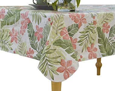 "Elrene Home Fashions Vinyl Tablecloth with Polyester Flannel Backing Tropical Leaf Easy Care Spillproof, 60""x120"", Green"