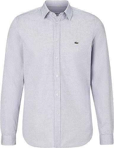 Lacoste Camisa para hombre CH7544, camisa de manga larga, a cuadros, corte ajustado