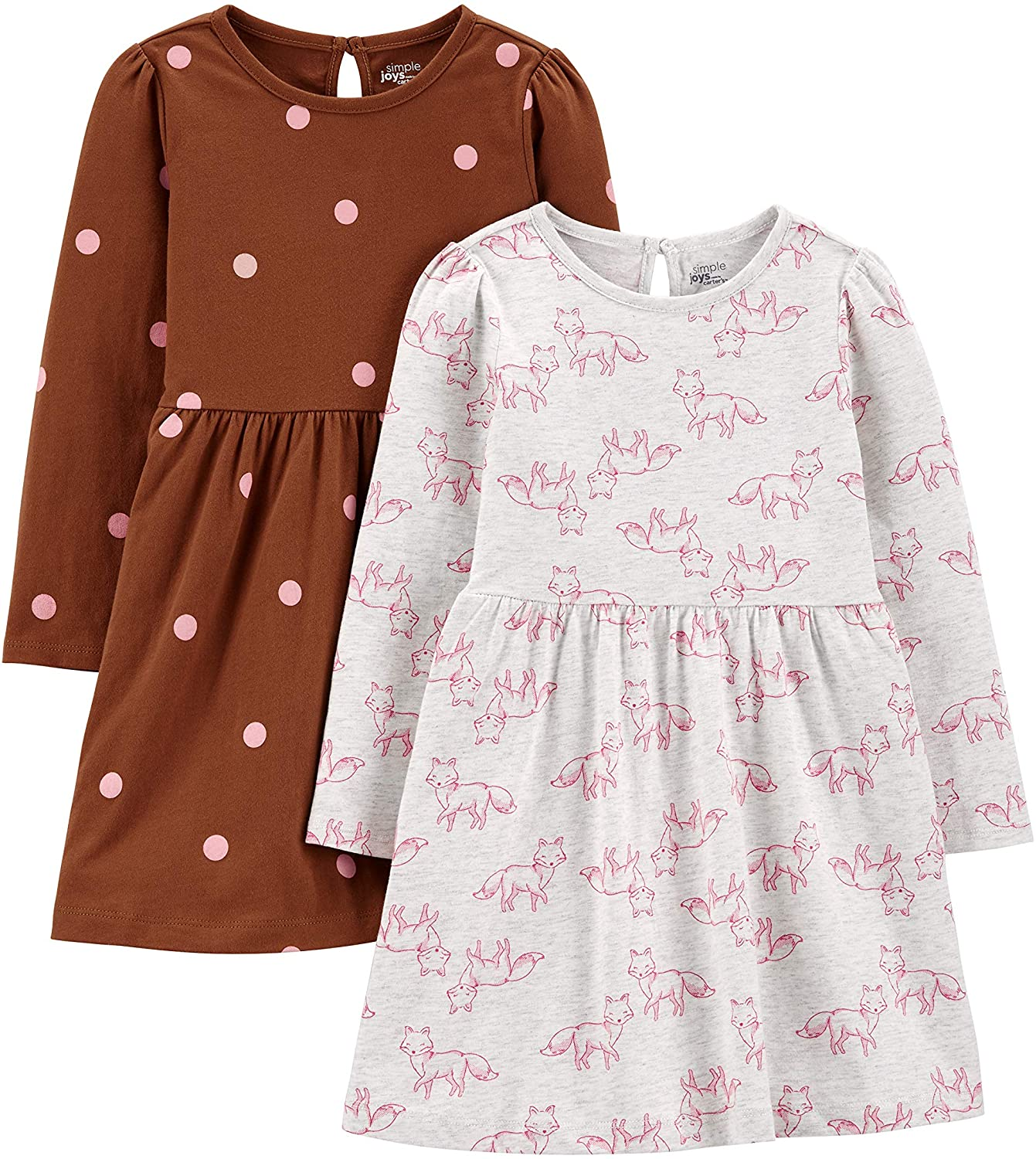 Simple Joys by Carter's Girls' Los Angeles Mall Dress Long-Sleeve 2-Pack Save money Set