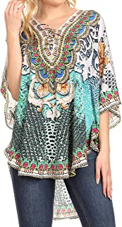 Sakkas Tallulah Wide Circle Blouse Poncho Top with Tie Neck Enclosure with Beads