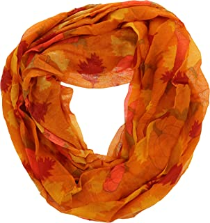 Autumn Fall Theme Women's Gauze Infinity Scarf, Leaves and Pumpkins