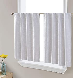 HLC.ME Serenity Floral Thermal Insulated Blackout Decorative Grommet Tailored Window Curtain Tiers for Kitchen, Bathroom, ...