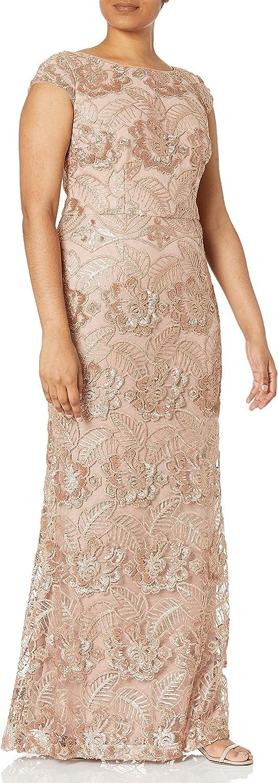 Alex Evenings Women's Long Embroidered Cap Sleeve Dress