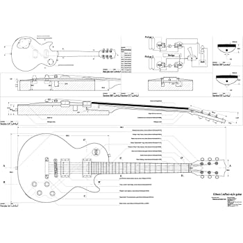 Set of 4 Electric Guitar Plans - Les Paul, Les paul Double Cutaway, Firebird Studio, Flying V - all Full Scale - Actual Size- Making Guitar