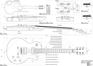 Set of 4 Electric Guitar Plans - Gibson Les Paul, Gibson Les paul Double Cutaway, Gibson Firebird Studio, Gibson Flying V --- all Full Scale - Actual Size- Making Guitar or Framing BUY ONLY FROM SPIRIT FLUTES -