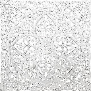 Orientalische Holz Ornament Wanddeko Rajab 120cm gross XXL | Orientalisches Wandbild Wanpannel in Weiss als Wanddekoration | Vintage Triptychon als Dekoration im Schlafzimmer oder Wohnzimmer 3 teilig