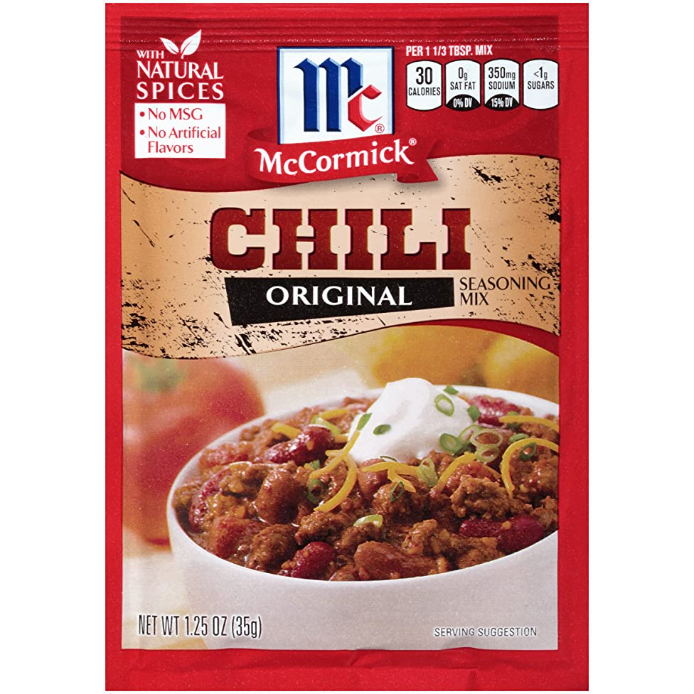 McCormick Chili Seasoning Mix, No MSG, Artificial Flavors or Added Colors, 1.25 Oz (Pack of 24)