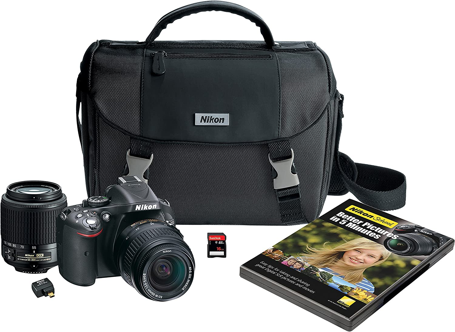 Nikon D5200 Digital Slr With 18 55mm 55 200mm Non Vr Lenses Black Discontinued By Manufacturer Camera Photo