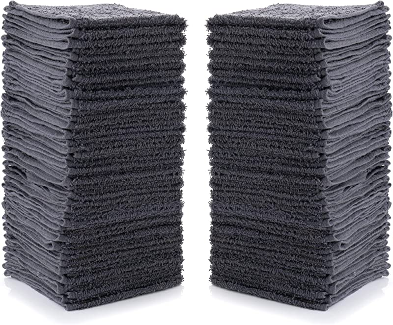 Simpli Magic Cotton Washcloths 12 X 12 Gray 24 Pack