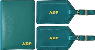 Personalized Monogrammed Teal Leather RFID Passport Wallet and 2 Luggage Tags