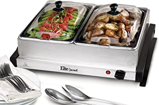 Elite Gourmet EWM-6122 Dual Server Food Warmer, Adjustable Temp For For Parties & Holidays, 2 x 2.5Qt Buffet Trays with Slotted Lids, Perfect for Parties, Entertaining & Holidays, Stainless Steel