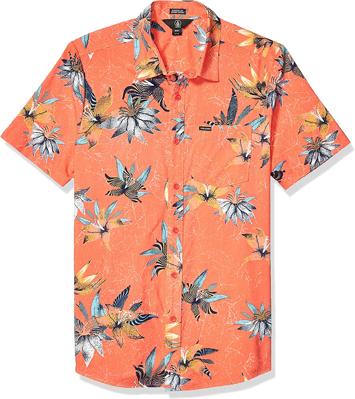 Volcom Verano Stone - Camisa de manga corta con botones para hombre