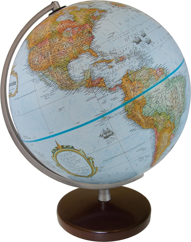 Replogle Stanley Globemaster bluee Ocean Raised Relief Globe, Walnut Finish Wood Base and Sleek Polished Semi (12  30cm Diameter)