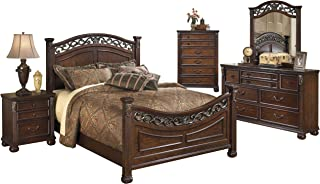 Ashley Leahlyn 5PC Bedroom Set Cal King Panel Bed Dresser Mirror One Nightstand Chest in Warm Brown