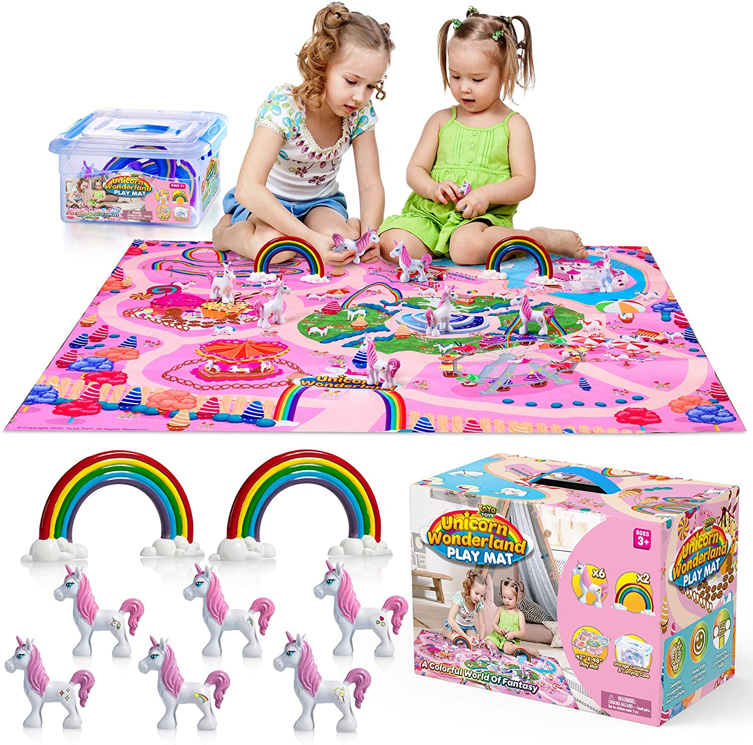 YoYa Toys Unicorn Wonderland Play Mat & Unicorn Toy Set   Colorful Activity Playmat & (6) Unicorn Figurine Set Keeps Little Girls Entertained for Hours   Adorable Playset Makes a Great Gift for Girls