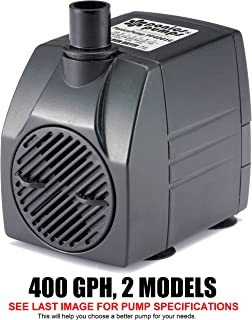 PonicsPumps Submersible Pump with for Hydroponics, Aquaponics, Fountains, Ponds, Statuary, Aquariums & More. Comes with 1 Year Limited Warranty. (400 GPH : 16' Cord)