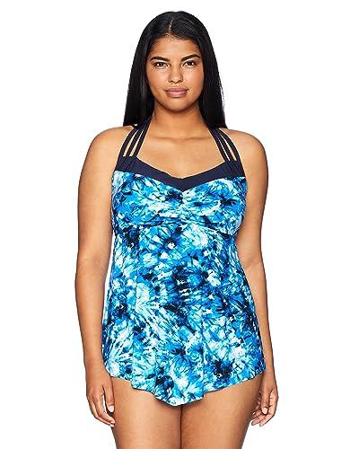 7000dd72df5d0 Coastal Blue · Women s Plus Size Control Swimwear Halter V-Neck Front  Tankini Top