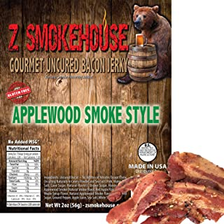 Applewood Smoke Style Bacon Jerky (Gluten Free) - Uncured. - No MSG. No Nitrates. - Classic Gourmet Recipe - Made in USA - 2oz