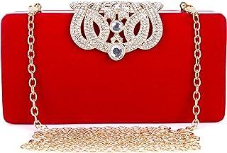 Damen Abendtasche Perlen Handtasche Klein Diamant Clutch Bag Glitter Frauen Kettetasche für Party Hochzei - Rot