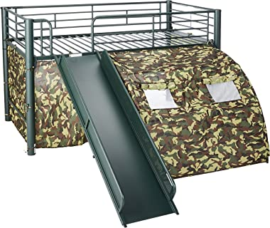 Oates Lofted Bed with Slide and Tent Army Green and Camouflage