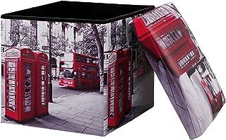 [en.casa] Taburete de almacenamiento multifunción (38×38cm) Puff - Otomana - reposapiés (LONDON) - cuero sintéico PU (estampado)