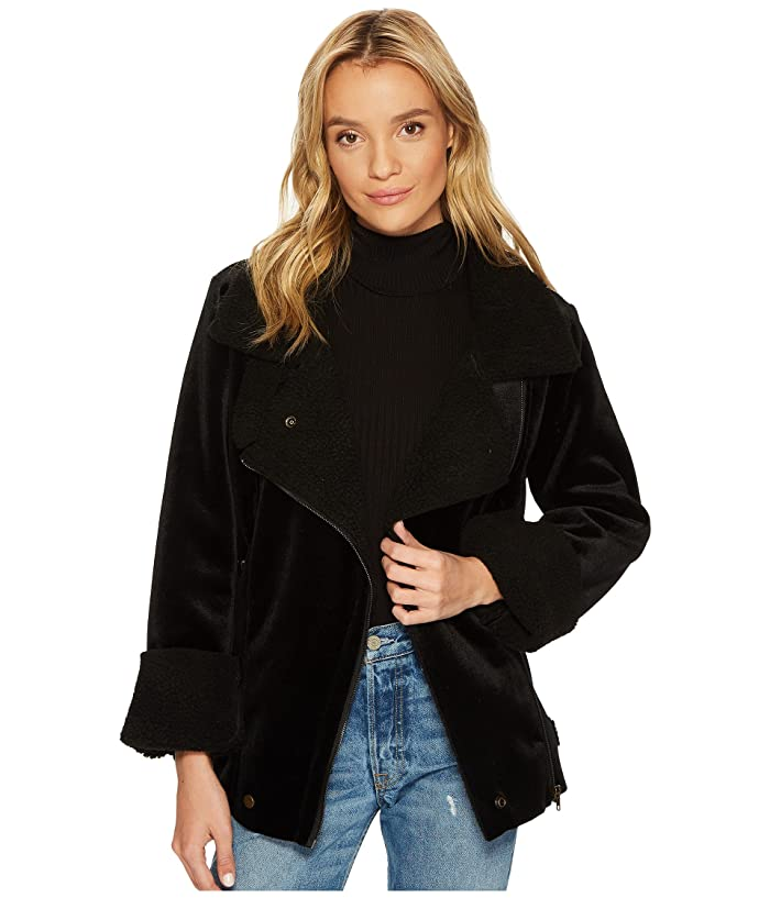 J.O.A. Velour Shearling Coat (Black) Women