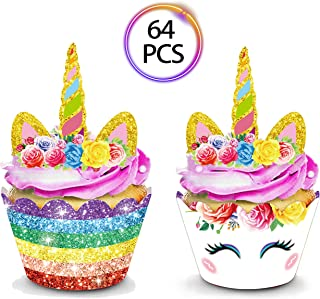 QMZ 64pcs Unicorn Cupcake Toppers and Wrappers Double Sided for Kids Birthday Baby Shower Theme Party Decorations Supplies Set of 32
