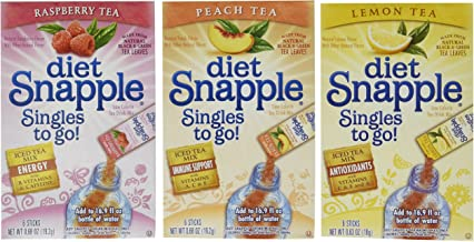 Lot of 9 Boxes/54packets- Mixed Variety Diet SNAPPLE Sugar Free- Singles to go! 3 Raspberry, 3 Peach, & 3 Lemon Tea