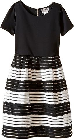 Short Sleeve Cut Out Scuba w/ Novelty Stripe Skirt (Big Kids)